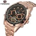 FORSINING New 2017 Luxury Men Rose Golden Flywheel Day Automatic Wrist Mechanical Watch Gift Box Free Ship