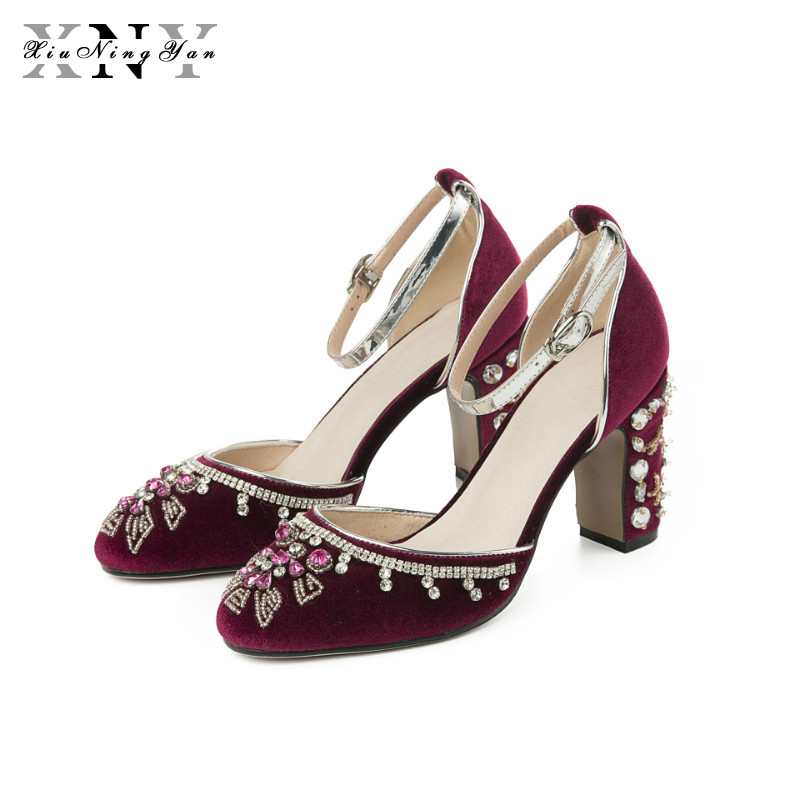 New Women s Pumps 9cm Woman Party Shoes Wedding Square Heel Sexy Real Leather Pearl Crystal
