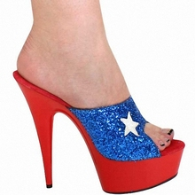 15cm Sexy Gorgeous Blue Glitter Star Slippers Women's Sandals Metal Color 6 Inch High Heel Popular Casual Shoes