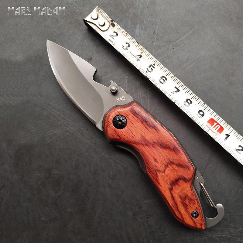 X48 titán összecsukható kés fafogantyúval túlélő taktikai zsebkés kicsi kemping kés EDC eszközök