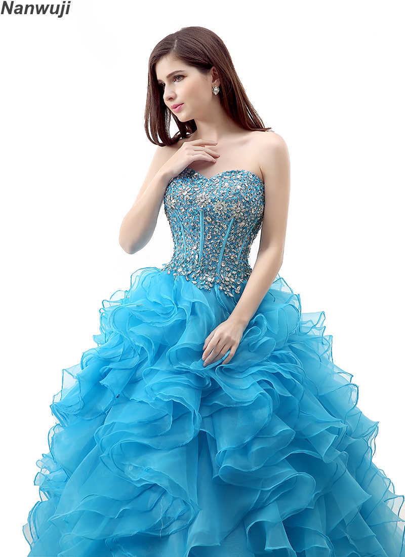 bb8fbfc11d67c 2018 Puffy Quinceanera Dresses Blue Sweetheart Top Beading Sweet 16 Ball  Gowns Quinceanera Dress 15 Years Birthday Party