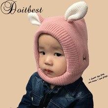 Doitbest/однотонные детские зимние шапки для детей от 2 до 6 лет, детские вязаные шапки, вязаная шапка для мальчиков и девочек с рисунком щенка из мультфильма, бархатная вязаная шапка-ушанка