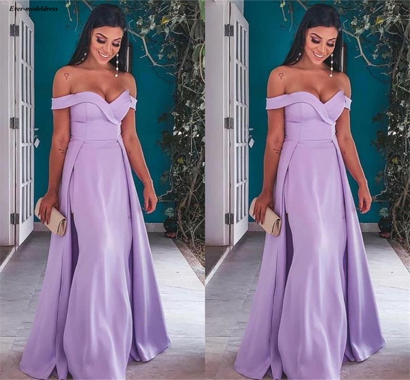 Beautiful Lavender Off The Shoulder Mermaid   Prom     Dresses   Long 2019 Simple Over skirt Arabic Party Gowns vestidos de gala
