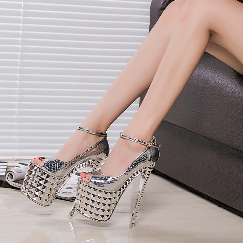 0a9f780cc5 Thin Heels 19cm High Heeled Sandals Rivets Peep Toe Female Platform Shoes  Women's Banquet Lady Shoes Patent Leather Croco Grain-in High Heels from  Shoes on ...