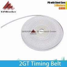 GT2 Timing Belt 2GT 6MM PU Steel Core Open Timing Belt White Color For Kossel RepRap Prusa Mendel Rostock 3D Printer