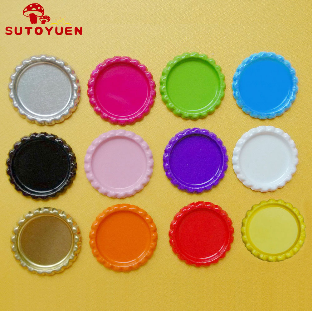 Mixed 12 Colors 1000 pcs Both side Colourful Flattened Bottle Caps Without Holes For Jewelry Hairbow