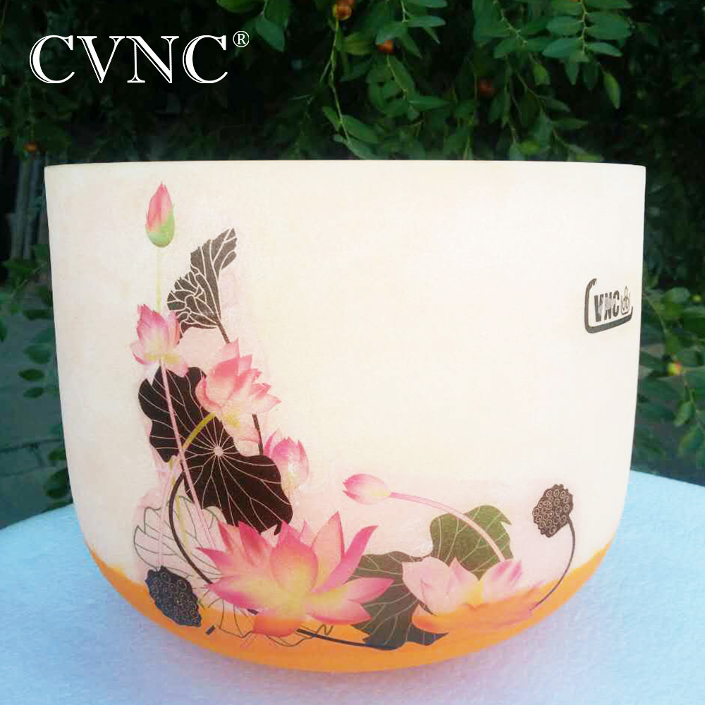 CVNC New Lutos Design 10 Note D Colored  Chakra Frosted Quartz Crystal Singing  Bowl  CVNC New Lutos Design 10 Note D Colored  Chakra Frosted Quartz Crystal Singing  Bowl
