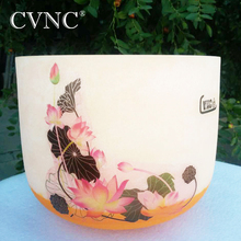 CVNC New Lutos Design 10 Note D Colored  Chakra Frosted Quartz Crystal Singing Bowl