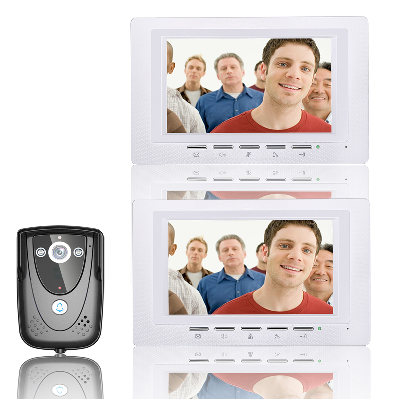Free Shipping 7'' Wired Video Door Phone Access Control Doorbell Intercom System Kit 1 camera+2 monitor IR Night Vision 817FCB12 free shipping wired 7 color video door phone intercom system 2 white monitor 1 night vision doorbell camera in stock wholesale