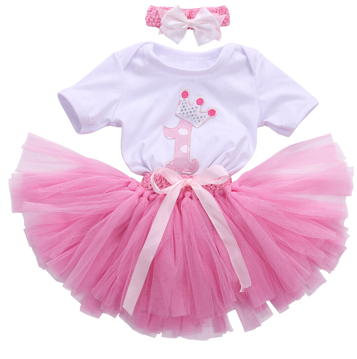 Child Baby Infant Girl Clothes Sets 1st Birthday Gift Head bands Ball Tuttle Skirts Bodysuits Pink Outfit Party Skirt Clothes baby girl 1st birthday outfits short sleeve infant clothing sets lace romper dress headband shoe toddler tutu set baby s clothes