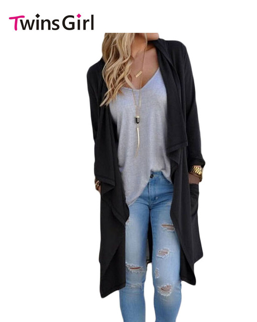 Twins Girl Open Front Coat Black Grey Drapery Open Front Back Slit Oversize Coat For Women Cheaply Wholesale LC85034