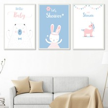 Kawai Rabbit Bear Unicorn Wall Art Canvas Posters Nordic Nursery Prints Painting Wall Picture For Living Room Modern Home Decor