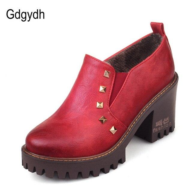Gdgydh Весной Насосы Платформы Oxfords Обувь Женщины Моды Заклепки Осень Мягкая Кожа PU Женщины Коренастый Причинно-Следственной Обувь Плюс Размер 43