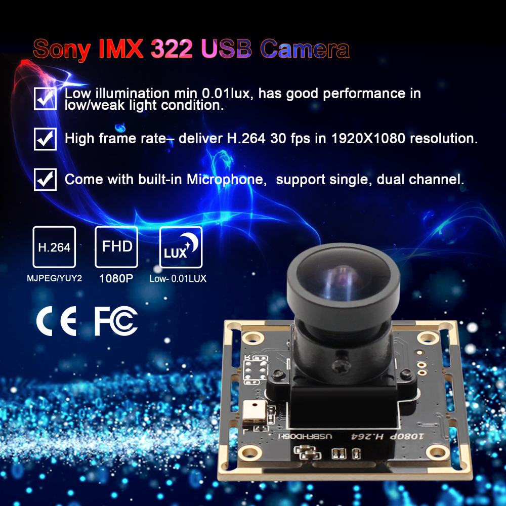 1080P cmos camera module Sony IMX322 H.264 MJPEG 30fps 1920*1080 wide angle video security camera for Mac OS,Linux Windows-in Surveillance Cameras from Security & Protection    1