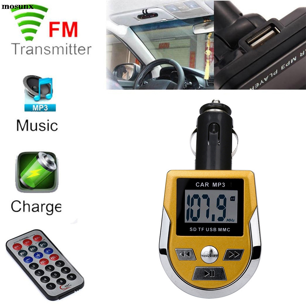 Car Wireless Hands-Free FM Transmitter SD MMC USB with Mic for iPhone 6 Plus 6s