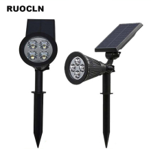 2PCS/Lot Solar Spotlight Lamp Waterproof IP65 Outdoor Lighting LED Solar Light Garden Lawn Lamp Landscape Wall Lights