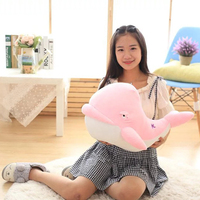 stuffed plush toy large 60cm pink whale soft throw pillow Christmas gift b0889