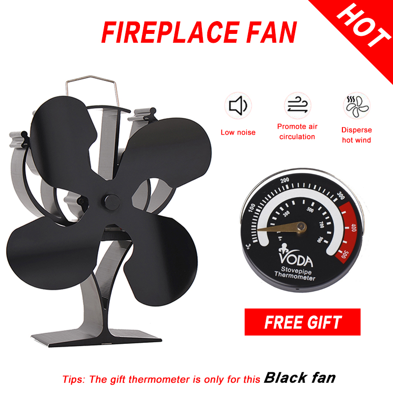 Four Leaf Thermal Power Fireplace Fan Environmental Friendly Air Harmless Furnace Temperature Meter Fireplace Fan Furnace