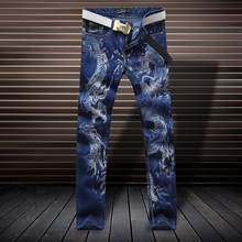 Fashion Chinese style retro dragon printing high-end blue jeans High-quality nightclubs stage personalized elastic jeans men