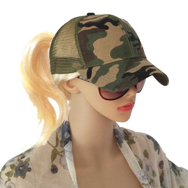 Mode Camouflage Druck Pferdeschwanz Baseball Kappe Frauen Messy Bun Baseball Hut Snapback Sommer Casual Mädchen Hip Hop Frauen Hut SchnäPpchenverkauf Zum Jahresende Kopfbedeckungen Für Damen Bekleidung Zubehör