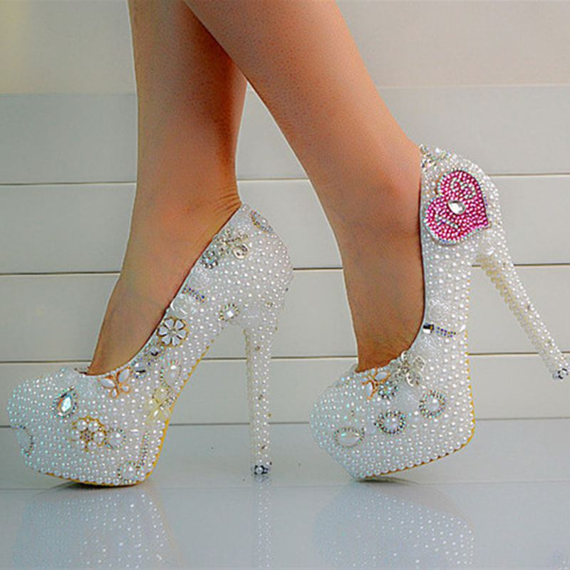 ФОТО Custom White Pearls Handmade Figures Women Wedding Shoes High Heels Sexy Slip On Platform Bridal Shoes Plus Size   No.26