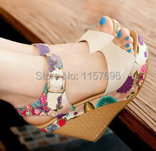 2016 new designer women shoes wedge sandals fish mouth Bohemia sponge waterproof platform high heels Rome shoes woman sandals