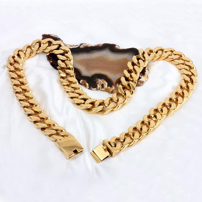 20MM New necklace Man domineering gold ultra thick necklace Titanium steel necklaces декоративные украшения gold man rw 13