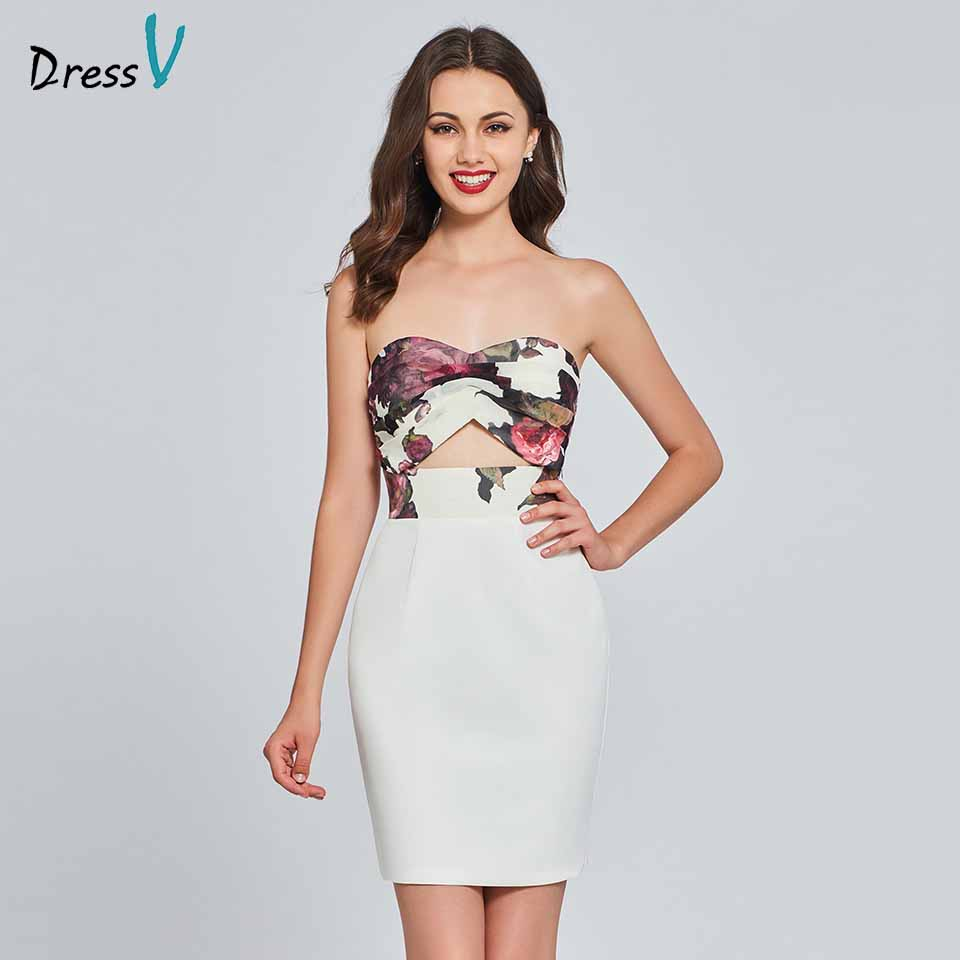 Dressv   cocktail     dress   sweetheart neck sleeveless elegant print backless short mini wedding party formal   dress     cocktail     dresses