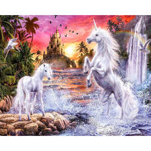 2018 Baru Kedatangan Diamond Lukisan Cross Stitch DIY Square Diamond Mosaik Diamond Bordir Dua Unicorn KBL(China)
