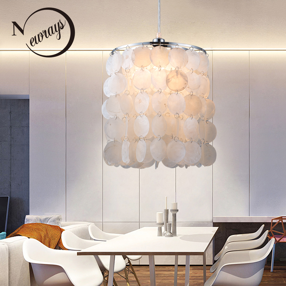 DIY modern white natural seashell pendant lamps E14 LED shell lighting for dining room living room kitchen bedroom home fixture