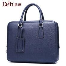 2018 Delin Delin leather business men bag handbag men briefcase kraft computer bag Leather Designed Laptop Cow Leather