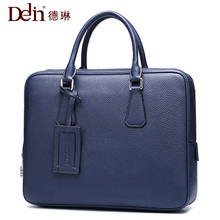 2018 Delin Delin leather business men bag handbag men briefcase kraft computer bag Leather Designed Laptop Cow Leather