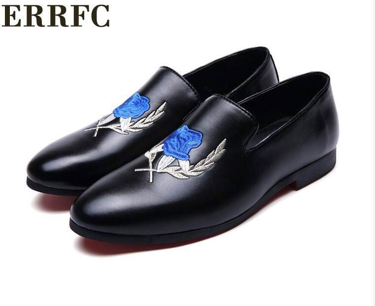Errfc Zapatos Bleu Bout Chaussures Mode Noir Mocassins Noir Hommes Nouvelle Glissement Sur Tendance bleu Homme Rond Casual Fleur Brodé Arrivée TawqTFr