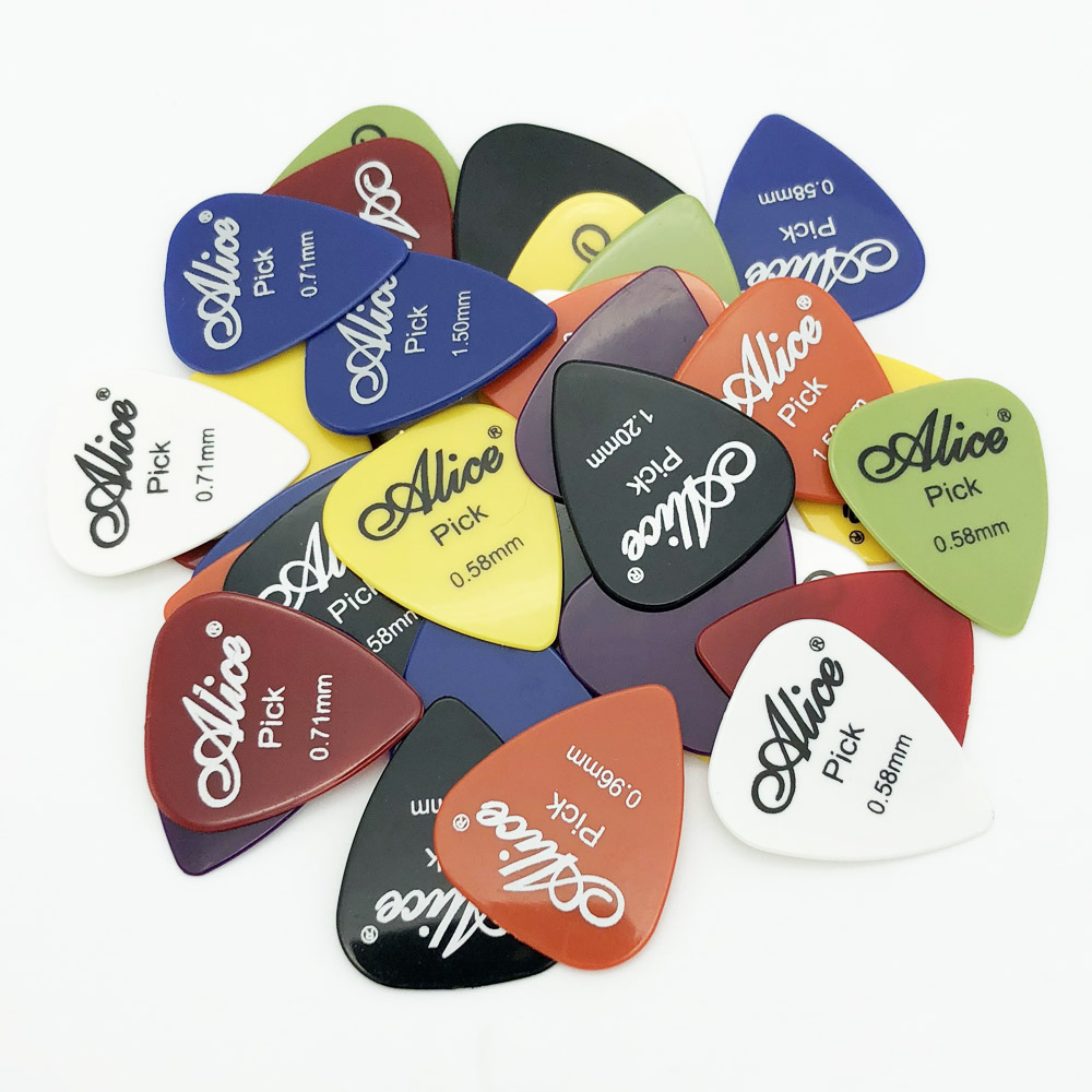 100pcs Alice Guitar Picks Single Thickness 0.58 0.71 0.81 0.96 1.20 1.50 (mm) Color Random soach 16pcs pvc guitar picks pictures random black picks bag package holder bass guitar part