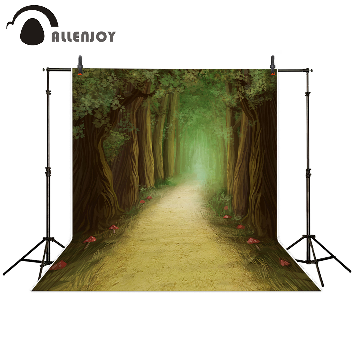 Allenjoy photography backdrop Oil painting style forest Path mushroom fairy tale background for photo studio camera fotografica send rolled enchanted forest backdrop secret garden lantern fairy tale printed fabric photography background s0038