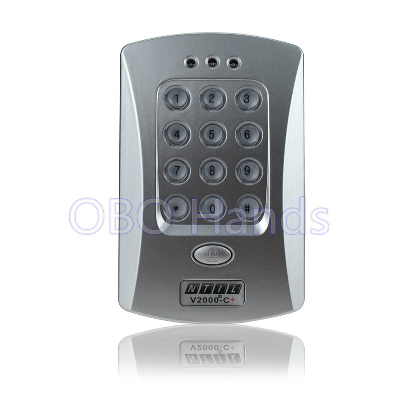 Free shipping RFID  door access controller keypad 125KHz card reader door lock with high quality silver color V2000-C+ model good quality metal case face waterproof rfid card access controller with keypad 2000 users door access control reader