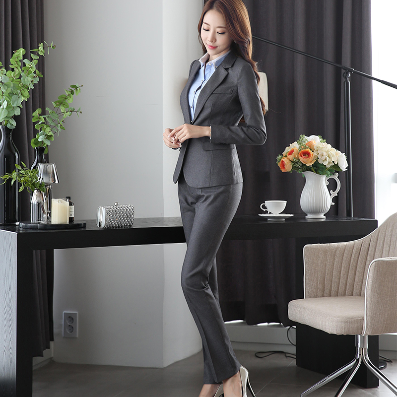 High-grade Viscose Fabric Two Piece Set Pocket Formal Pant Suit Office Lady Uniform Designs Gray Women Business Suits For Work