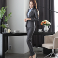 Tejido de Viscosa de alta calidad de Dos Piezas Pantalón Traje Formal Señoras de la Oficina de Bolsillo Uniforme Diseños Mujeres Grises Trajes de Negocios Para trabajo