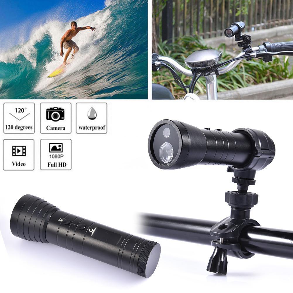 Lampe de poche Action caméra HD extérieur vélo moto enregistreur LED veilleuse pour Camping d'urgence auto-défense Cam