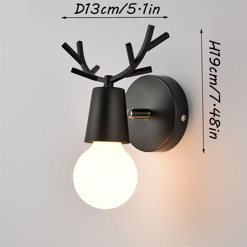 Nordic Vintage Antler Wall Lamp Contemporary Art Dec Black White Wood Antler Wall Light Sconce Bedside Reading Adjustable Arm Light Bedroom Wall Lamp (10)
