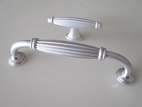 Silver White Dresser Knob Drawer Pulls Handles Knobs Cabinet Knob Metal Retro Kitchen