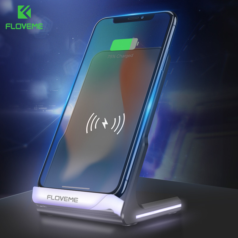 FLOVEME 10W Wireless Charger For iPhone X 8 8 Plus LED Qi Phone Charger For Samsung Galaxy S8 S8 Plus Universal Charging Dock