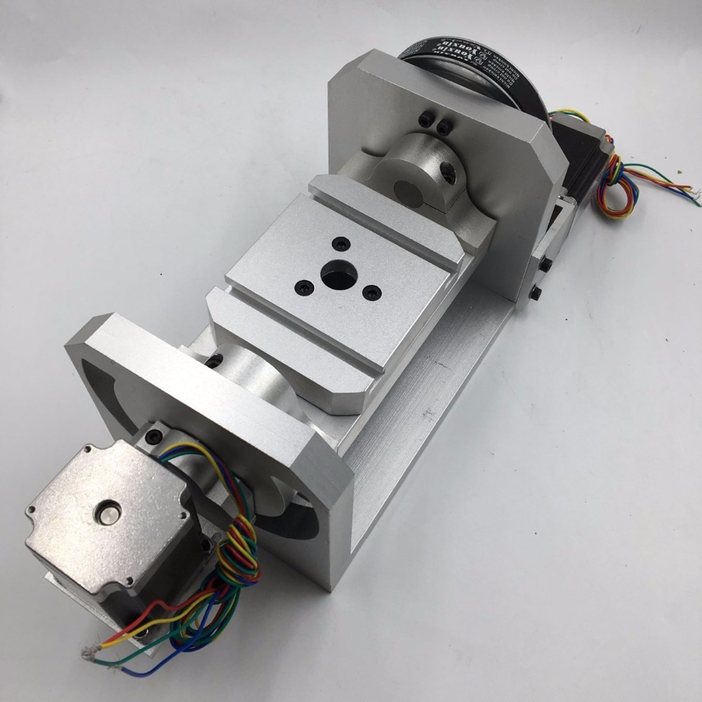 5th Axis A Axis CNC Rotary Axis 6:1 8:1 Stepper Motor Dividing Head 100mm 3 Jaw Lathe Chuck For CNC Engraving Machine