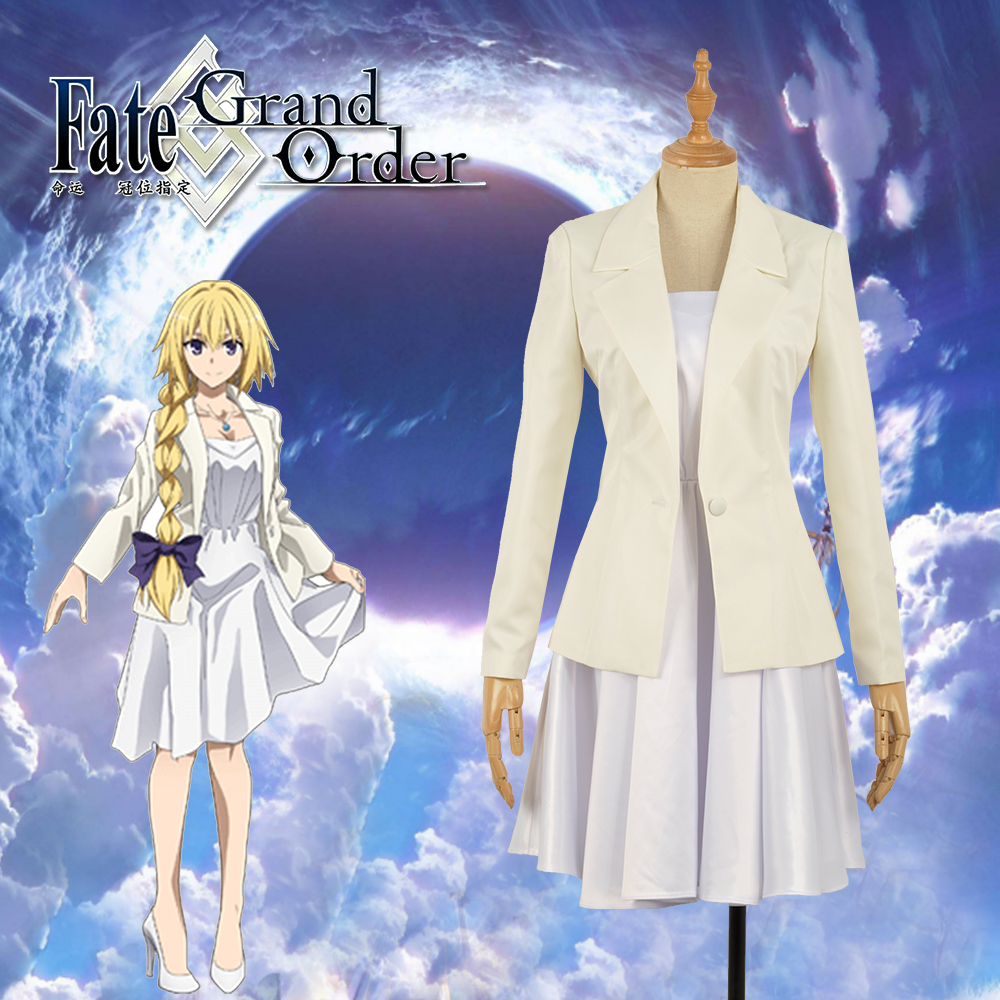 2018 Fate/Apocrypha -Epilogue Event FGO Joan Of Arc White Cosplay Costume Custom Dress Skirt Woman Adult Girl Clothing with Bow