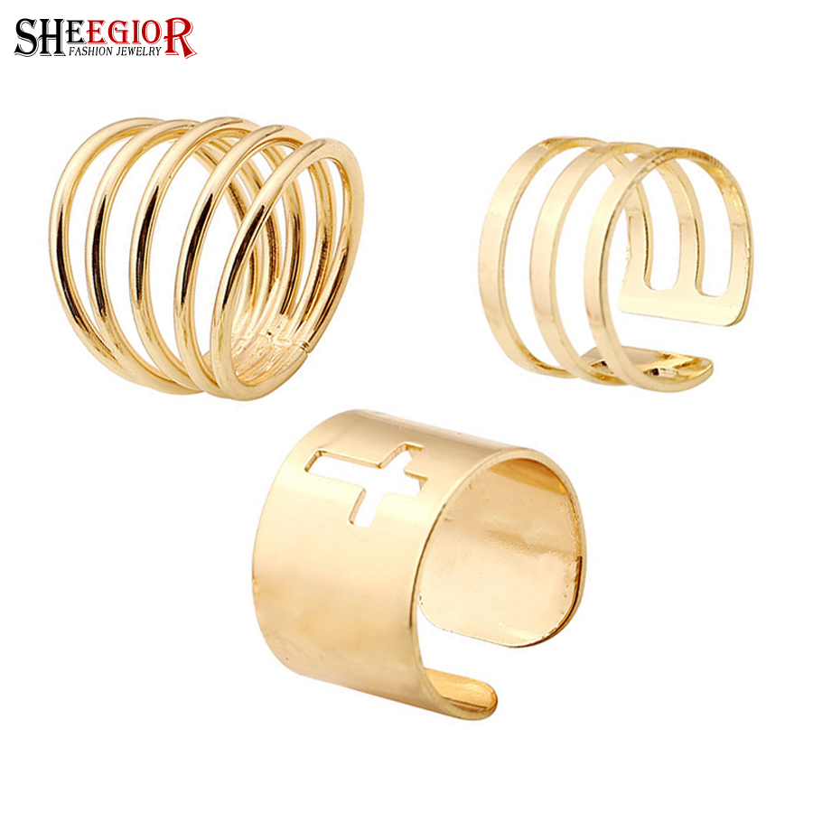 SHEEGIOR Punk Gold color Mens Rings for Women Hollow Cross Knuckle Ring 3 pcs Open Rings set Fashion Finger Jewelry Accessories