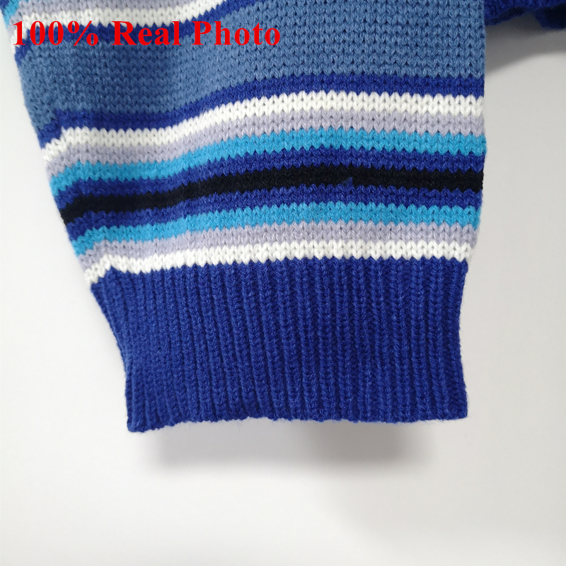 Harajuku Unif Clarissa Sweater Blue   White Striped Jumper Embroidered LOGO  Cropped Knit Oversized Sweater Women Pullovers f71711fcc