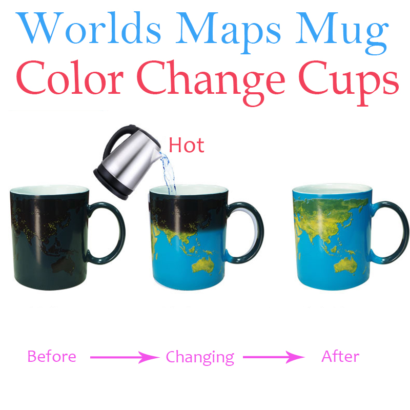 1Pcs Worlds Maps Color Change Mugs Earth Night Mug Ceramic Coffee Drink Cup Globe Worlds Maps Creative Gifts Dropshipping image