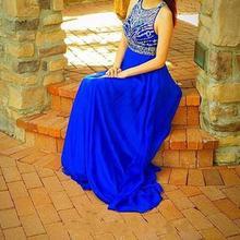 2016 Royal Blue Abendkleider Lange Mit Kristall Chiffon Bodenlangen Moderne Abendkleid vestido de festa longo