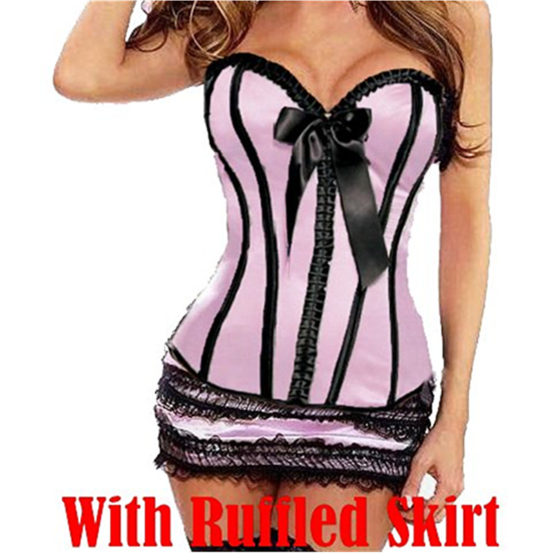 High Quality Sexy   Bustiers   Black Satin Body Shaped   Corset   Overbust   Corsets   With Mini Skirt M1766