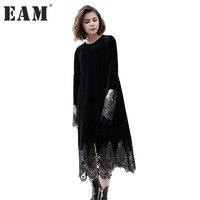 EAM 2017 Autumn Winter Fashion New O Neck Organza Stitching Velvet Dress Tide All Match